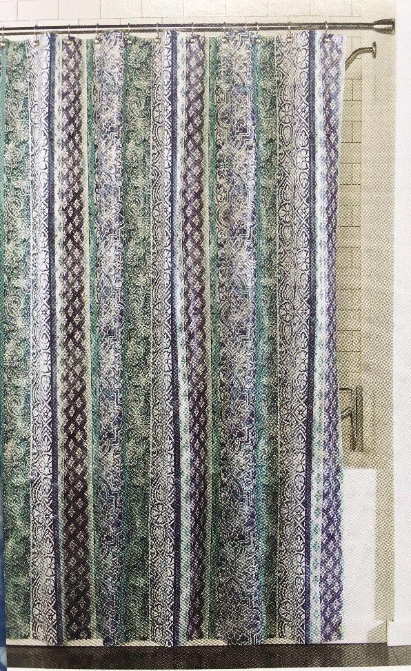 Shower Curtain Flora Blue Stripes Tangier Designer Print 70 X 72