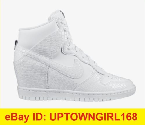 uk availability 8f72a f8d0f NIKE-Dunk-Sky-Hi-High-Wedge-Sneakers-White-Croc-Snake-528899-ALL-SIZES-New