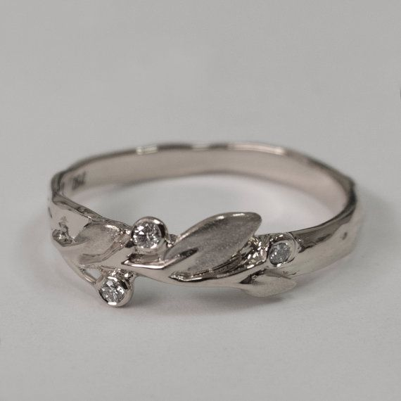 Leaves Diamonds Ring No. 9 - 14K White Gold and Diamonds engagement ring,  engagement