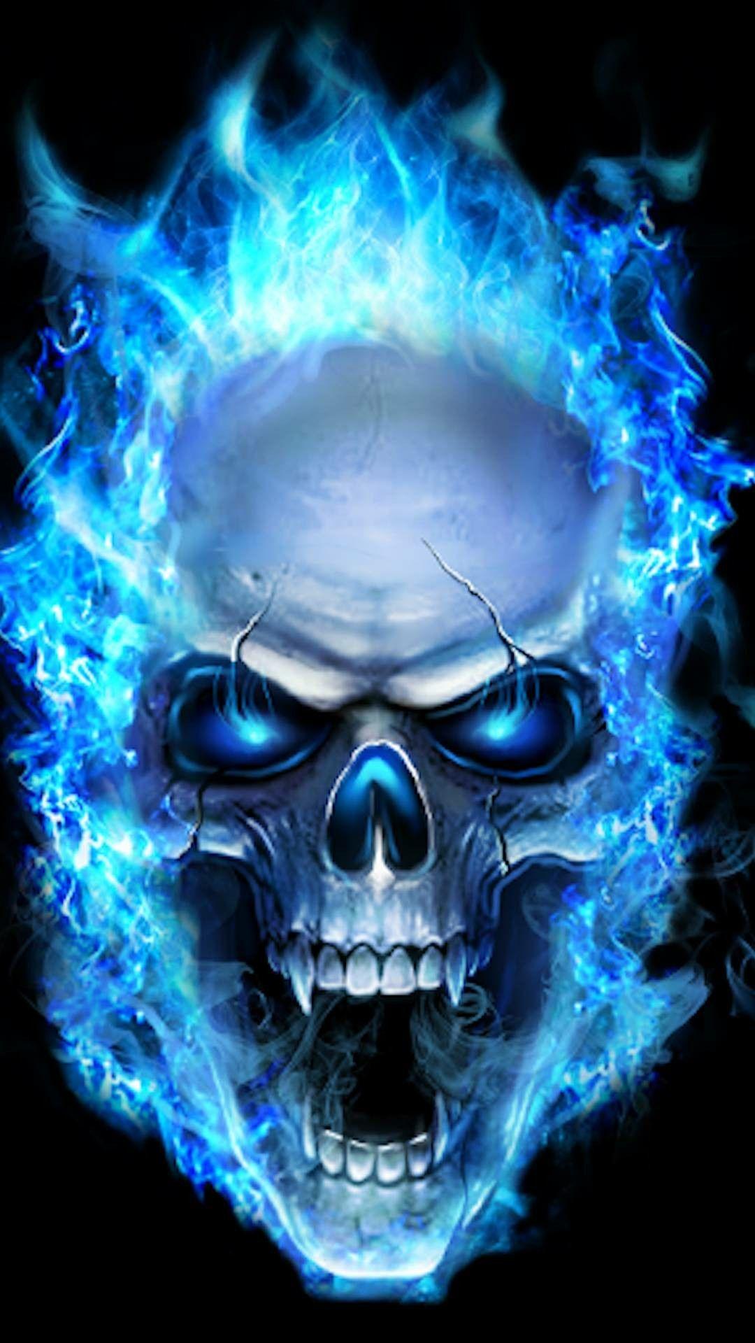 Blue Flame Skull Skull Wallpaper Sugar Skull Wallpaper Skull Artwork