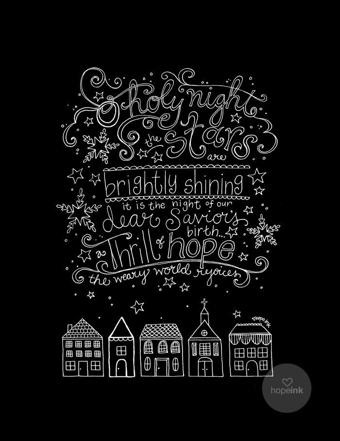 Christmas Hymn Art O Holy Night Thrill of Hope Row by hopeink, $24.00