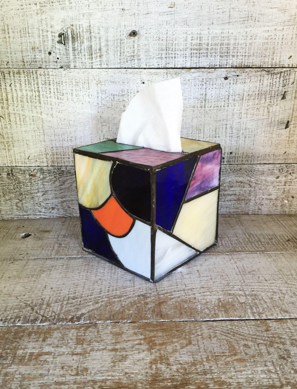 Decorative Tissue Box Cover Tissue Box Cover Stained Glass Tissue Box Cover Vintage Square