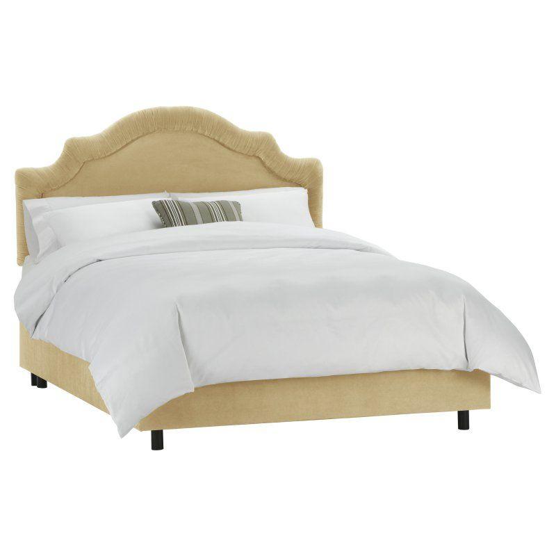 Shirred Notched Velvet Upholstered Bed