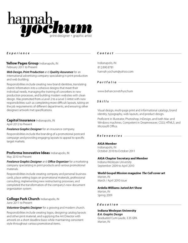 Hannah Yochum COLLECTION CV graphics Pinterest Creative cv - resume consultant
