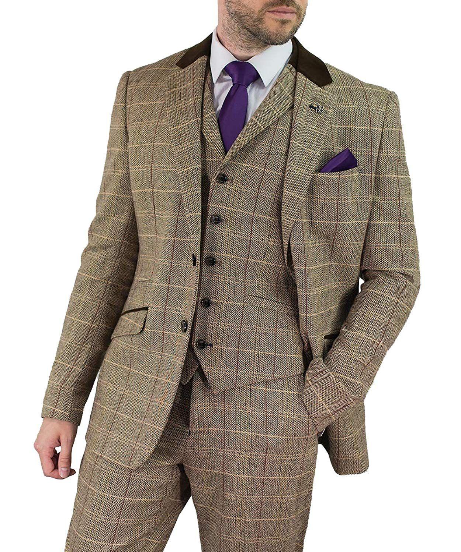 Peaky Blinders Style Suit Cavani Baron Men Brown 3 Piece Tweed Suit Dapper Peaky Blinders Amazon Co Uk Clo Peaky Blinders Style Suit Brown Tweed Suit Suits