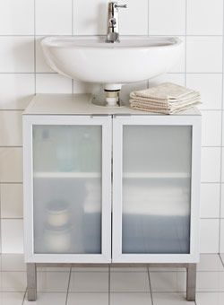 44++ White bathroom cabinet glass doors model