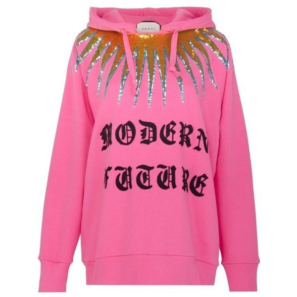 Modern Future cotton sweatshirt ❤ liked on Polyvore featuring tops, hoodies, sweatshirts, pink top, sequined sweatshirts, pink sweatshirts, pink sequin top and sequin tops