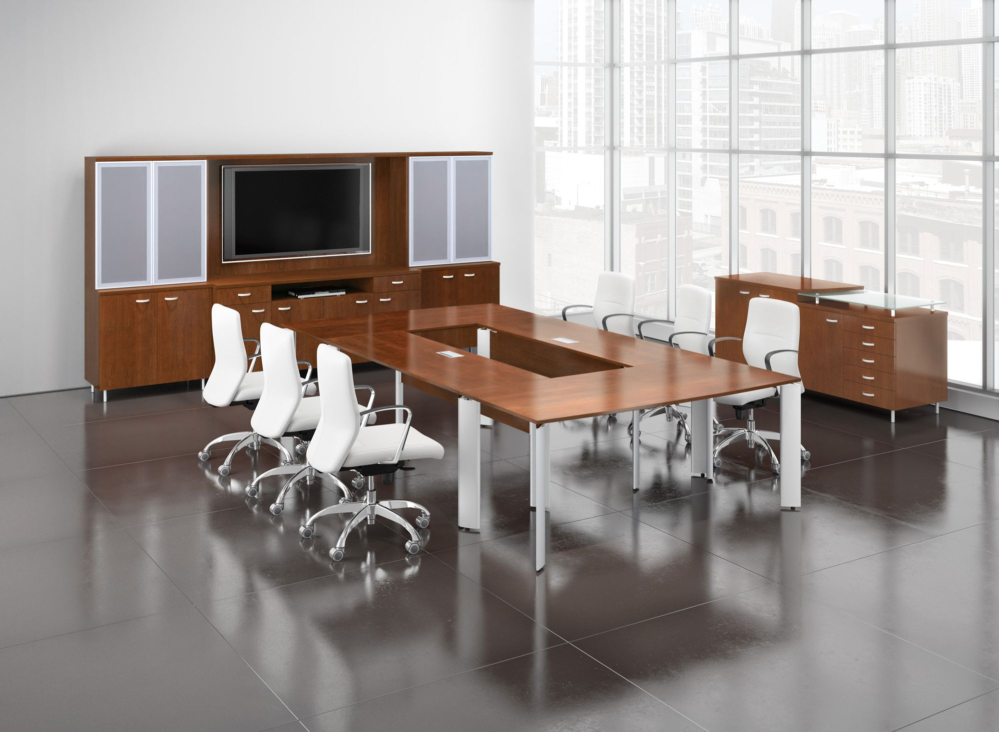 V2 modular open center rectangular conference table for Furniture for media room