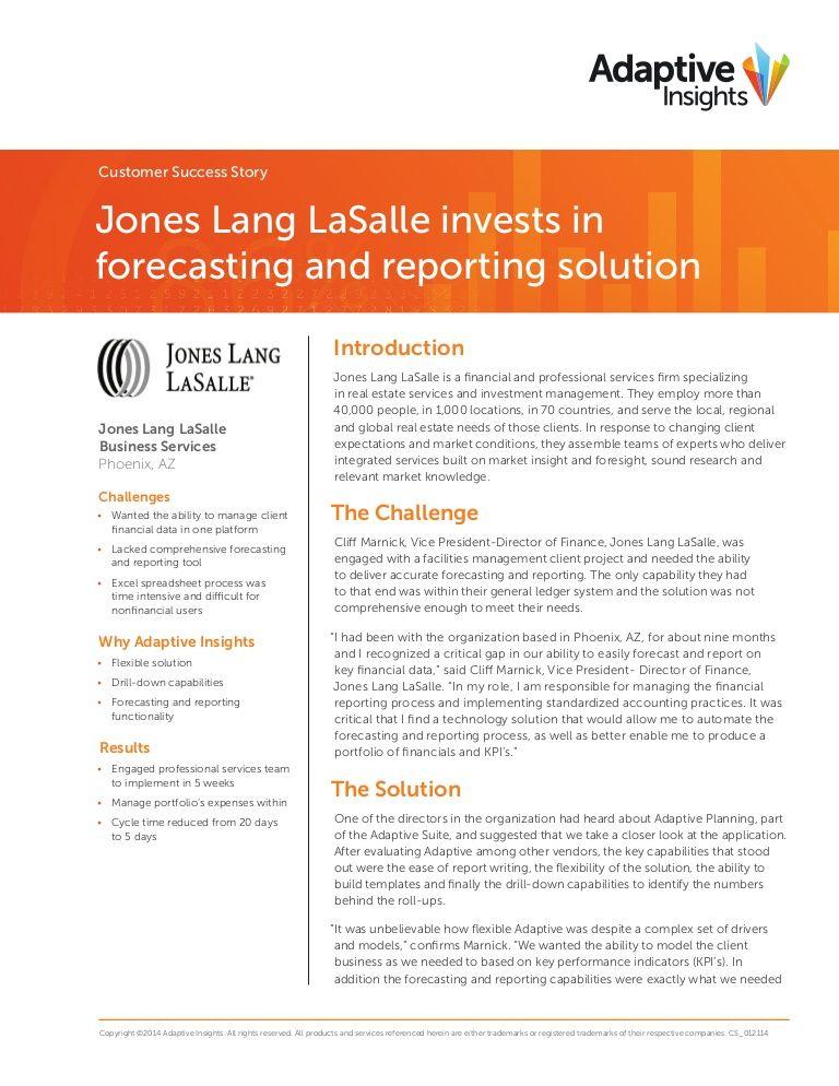 Adaptive Insights Jones Lang La Salle - A Customer Success Story by