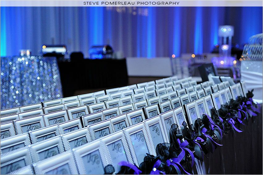 Picture frame wedding favours, created by Europa Imports, image by Steve Pomerleau Photography, décor by Elegance by Design, Lighting by Marz Media, Lounge furniture by Modish Lounge Rentals.