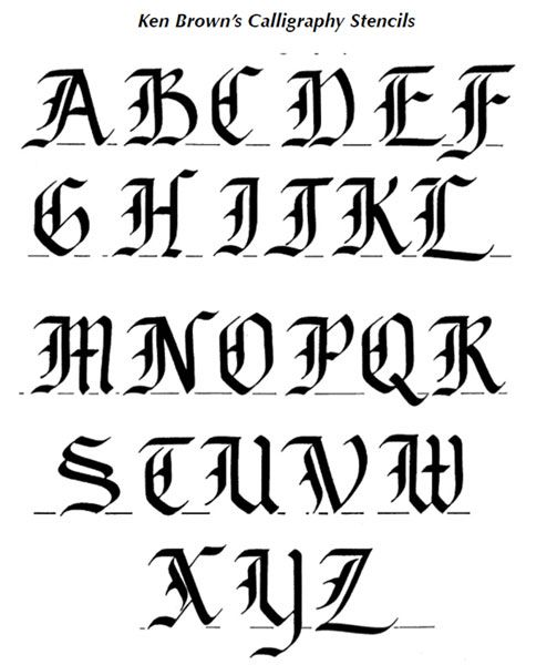Calligraphy alphabets one shown here is the i love