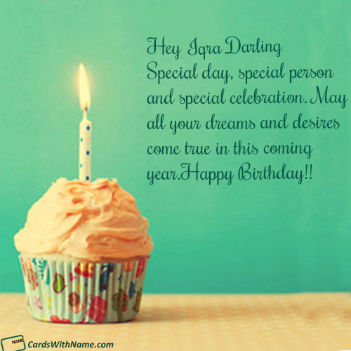 iqra darling name card  birthday wishes with name happy
