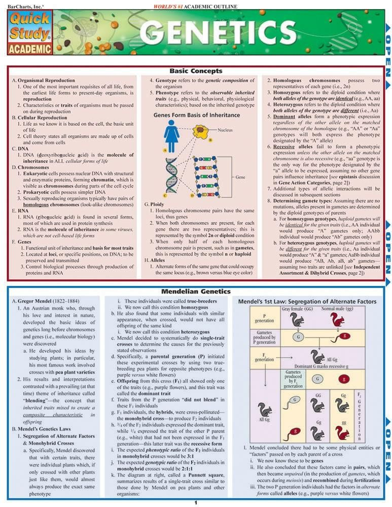 The Genetic Makeup Of An Organism Best Genetics Laminated Reference Guide  Genetics Knowledge And Students 2018
