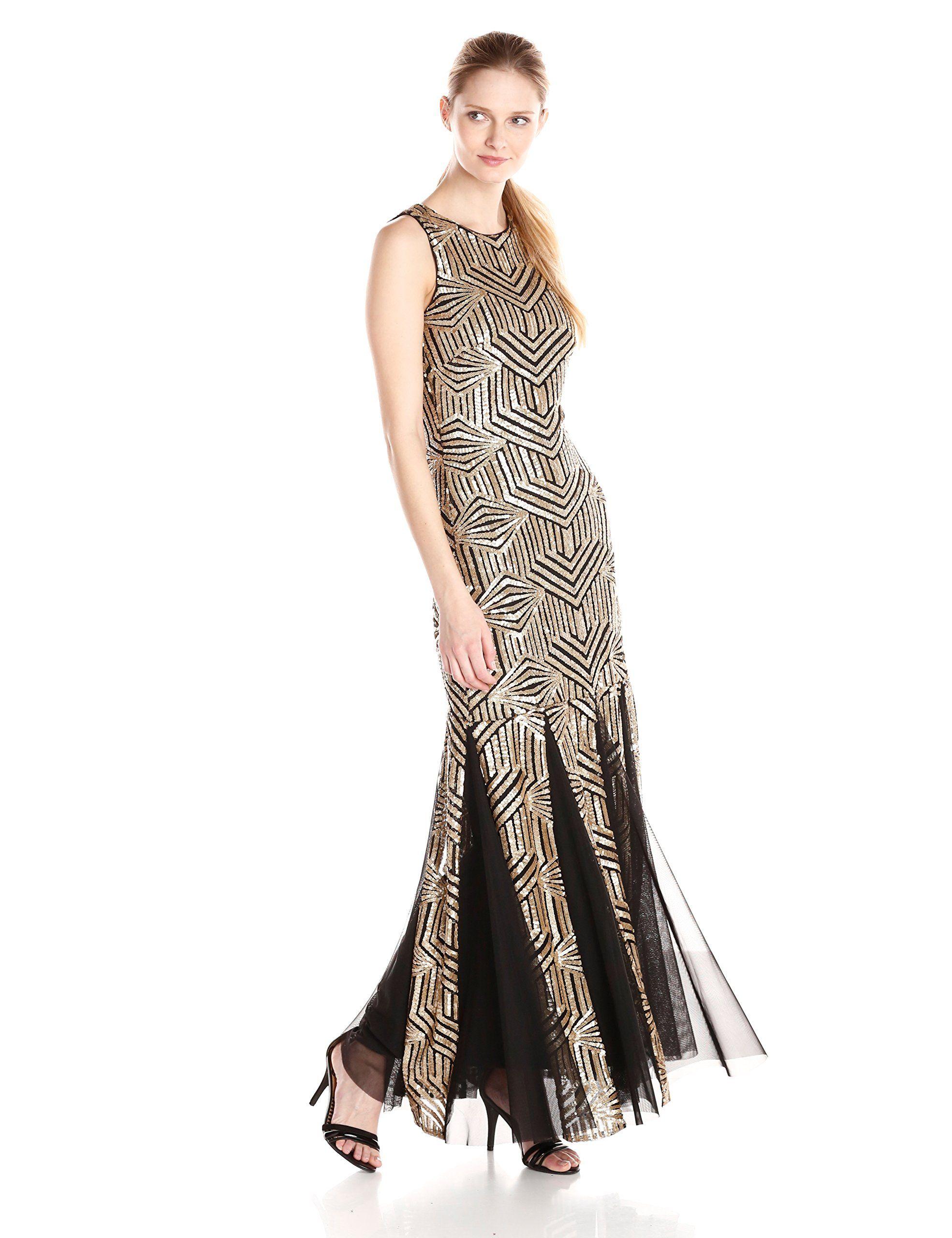 Calvin klein womenus sleeveless v neck beaded gown goldblack