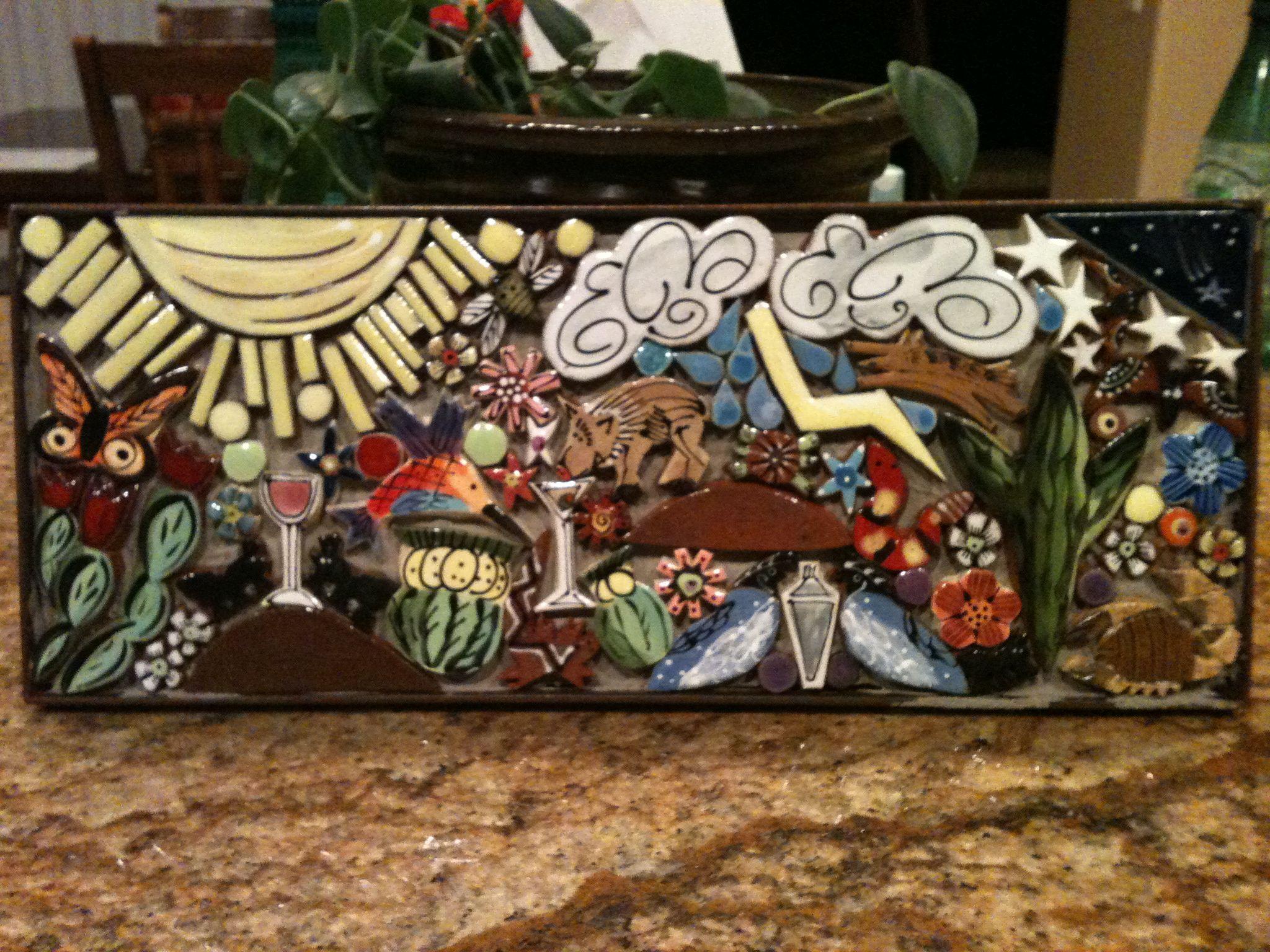Sold custom made butterfly mosaic table top for mary ann in texas - Kush S Southwest Scene I Used Santa Theresa Tile Works Desert Critter Tiles To Make