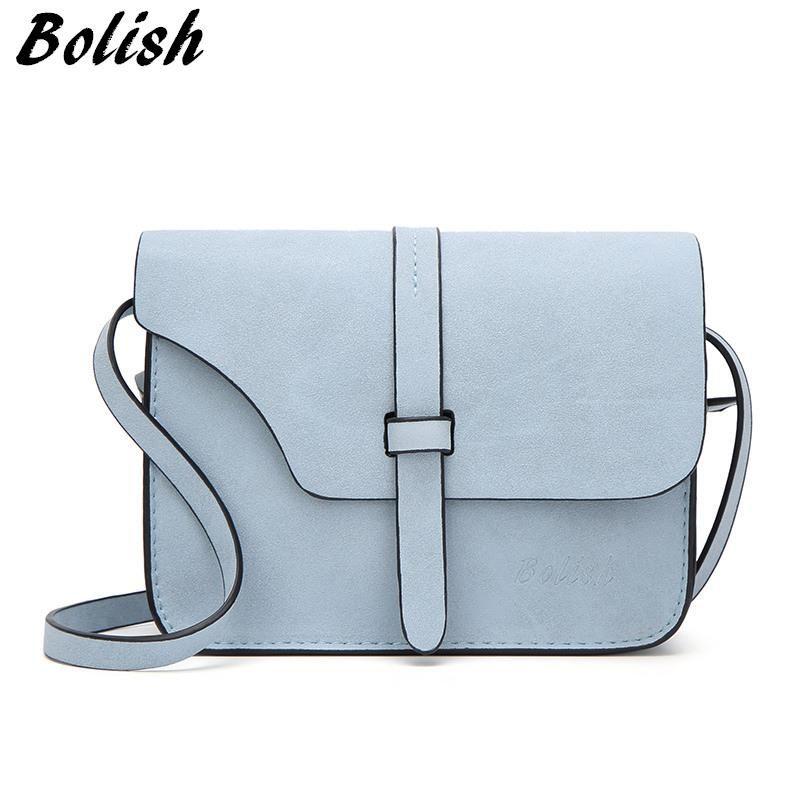 40f3409b5682 Bolish Nubuck Leather Women Bag Fashion Single Strap Crossbody Bag Candy  Color Mini Phone Bag