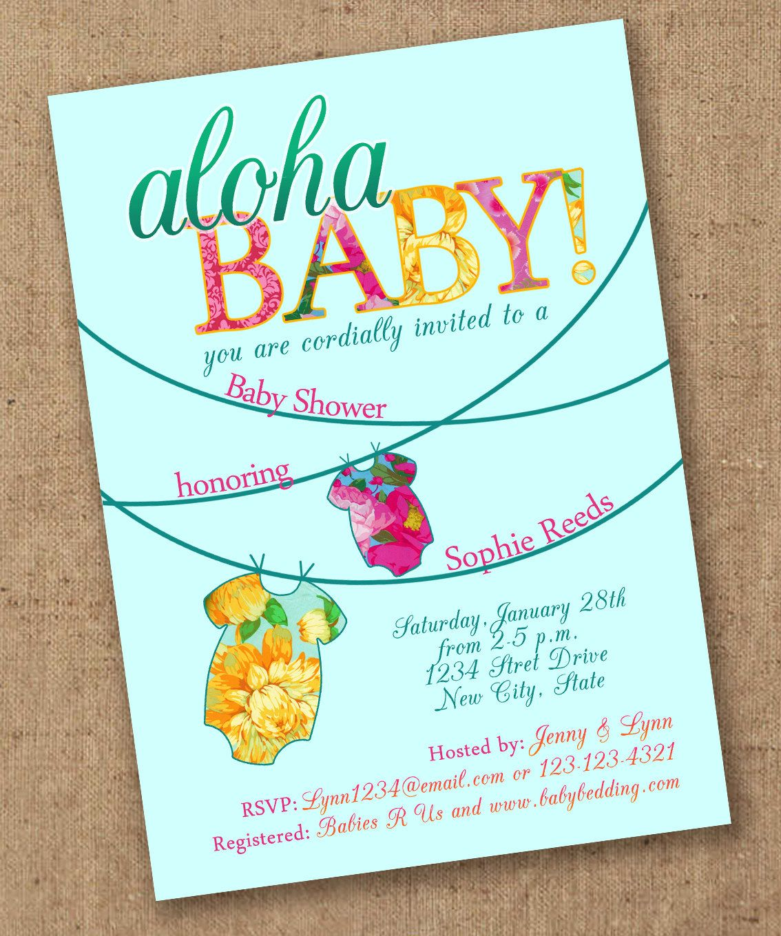 Tropical Onsie Luau Baby Shower Invite Printable 1500 via