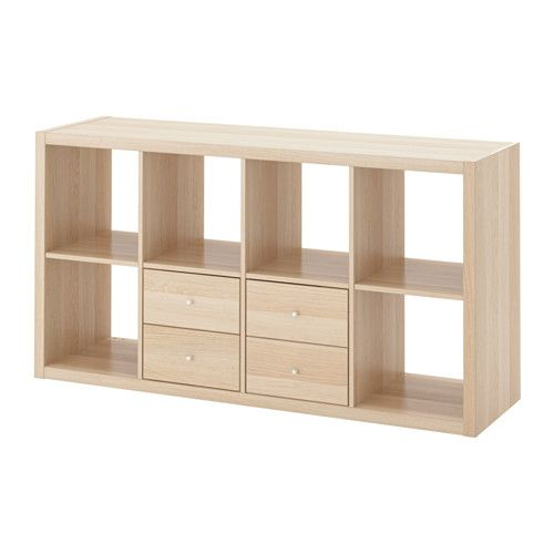 Kallax Shelving Unit With 2 Inserts White Stained Oak Effect