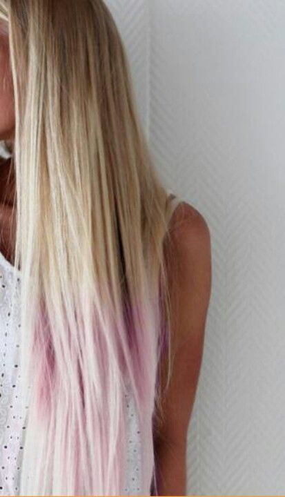 Blonde With Pastel Pink Long Blonde Hair Dip Dye Hair Hair Styles