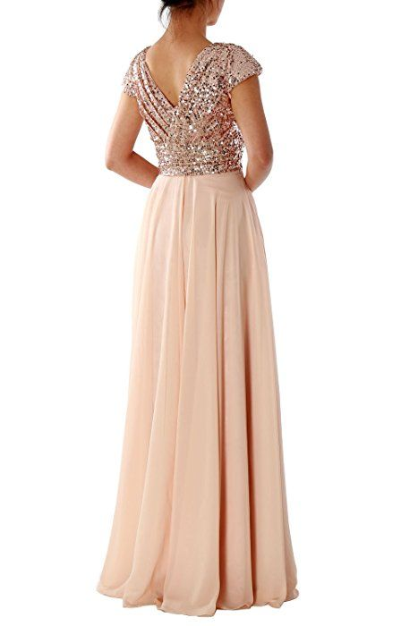 MACloth Cap Sleeve V Neck Sequin Chiffon Bridesmaid Dress Formal Evening Gown (0, Rose Gold)