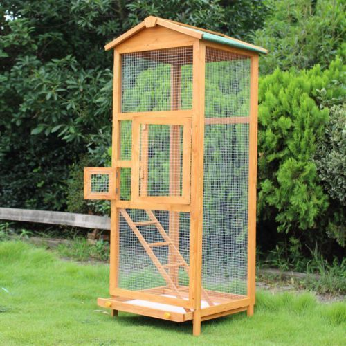 wooden large bird cage 65 pet play covered house ladder feeder rh pinterest com