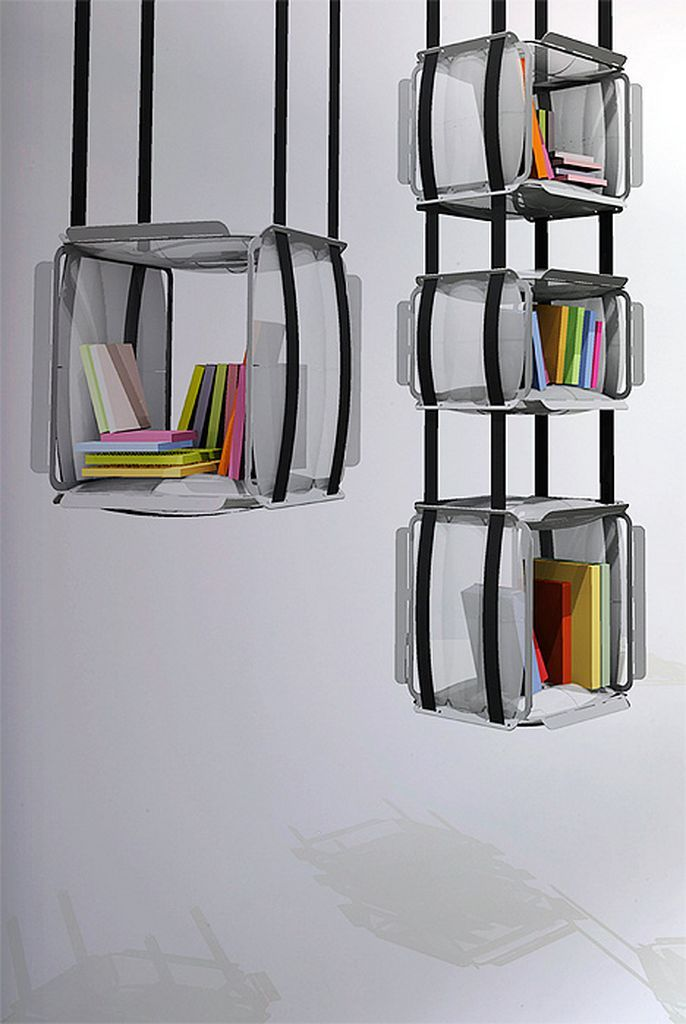 Futuristic Room Bookcase Hung From Ceiling