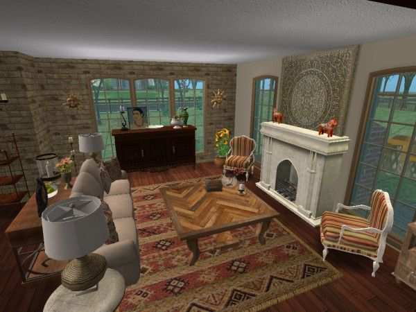Southwest Spanish Living Room Virtual Home D Cor Room Design Using The Sims 2