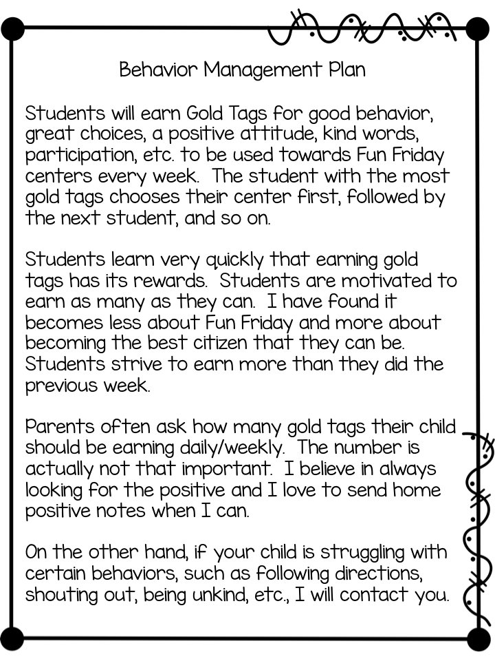 Gold Tags Behavior Management Plan Freebies  First Grade