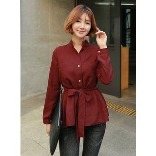 Mandarin-Collar Blouse with Sash