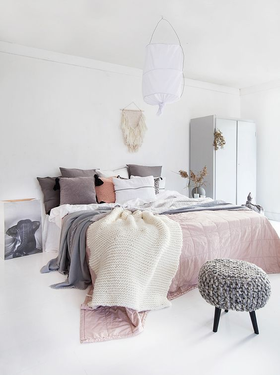 Norwegian Bedroom Design   White Walls And Floor, Muted Pink Bedspread/blanket,  And Light Gray Accents (pillows, Knit Stool) Part 67