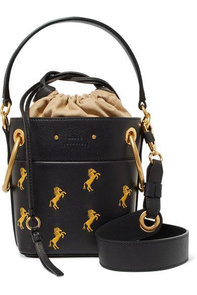 c8528711 Chloé - Roy Mini Embroidered Leather Bucket Bag - Midnight blue ...