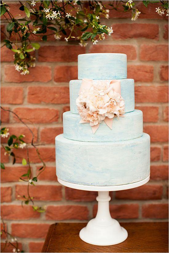 blue wedding cake by Layered Bake Shop http://www.weddingchicks.com/2013/08/30/southern-wedding-ideas/