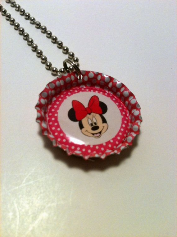 Pink Minnie Mouse bottle cap necklace by LillypadPark on Etsy, $4.95