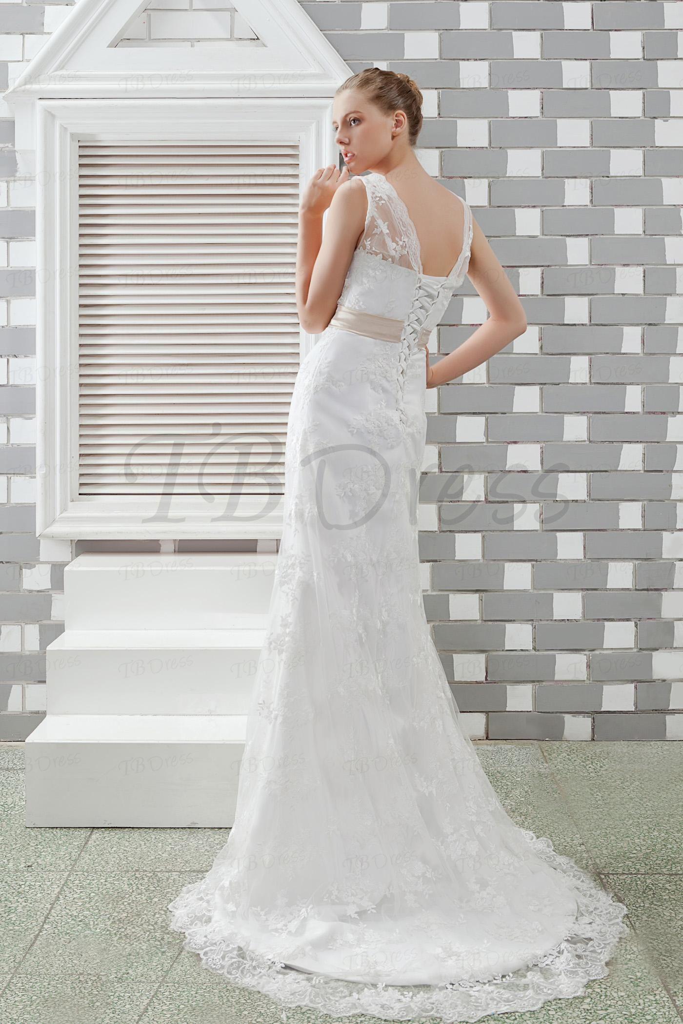 Tb Dresses Elegant Sheath Column Sleeveless V Neck Lace Vintage Anita S Wedding Dress