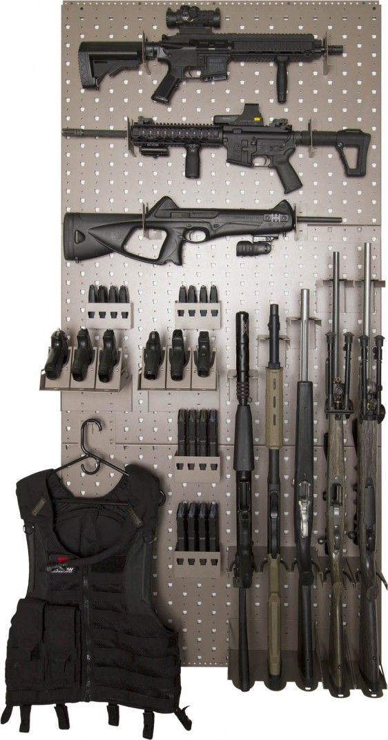 This rack system uses three of the x wall panels and will hold 7 rifles  horizontally, 5 rifles vertically, 6 hand guns, approx 8 hand gun mags, ...