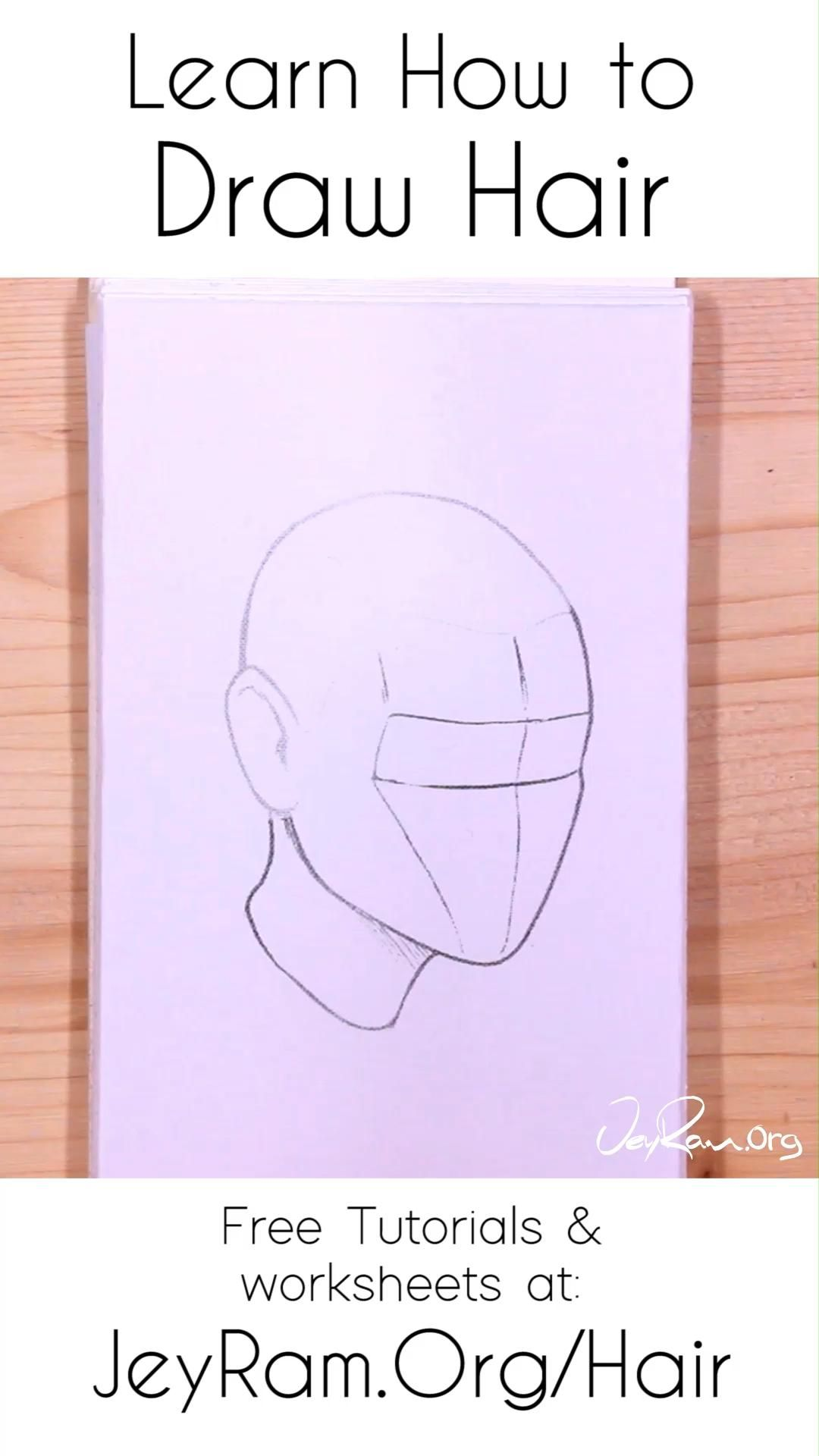 How To Draw Hair Tutorials Worksheets And References Video In 2020 How To Draw Hair How To Draw Anime Hair Drawings