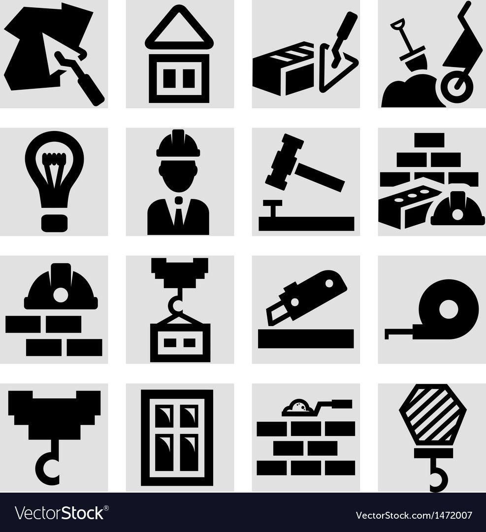 Construction icons set Royalty Free Vector Image , AFF,