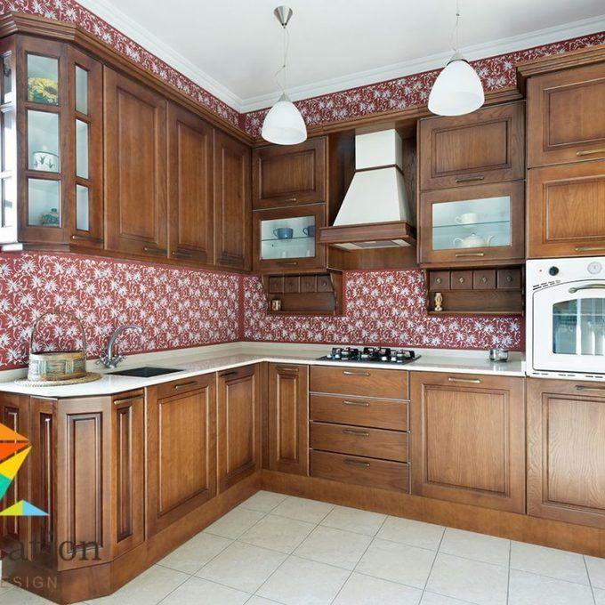 مطابخ خشب 2016 تصميم داخلى لمطبخ خشب و حوائط مزخرفة لوكيشن Kitchen Design Kitchen Inspiration Design Model Kitchen Design