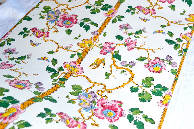 Vintage Wallpaper Schumacher Chinoiserie Floral Bird and