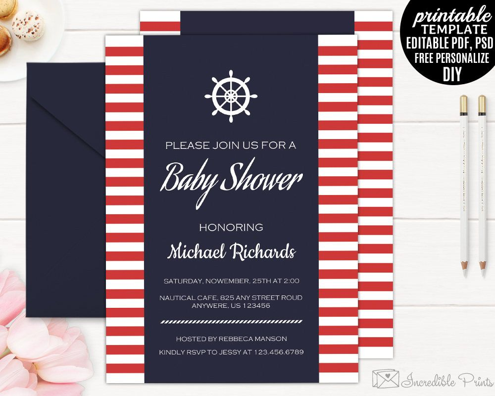 Nautical Baby Shower Invitation Template, Printable Navy Blue Baby ...