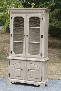 Creamy Distressed China Cabinet Antique Furniture