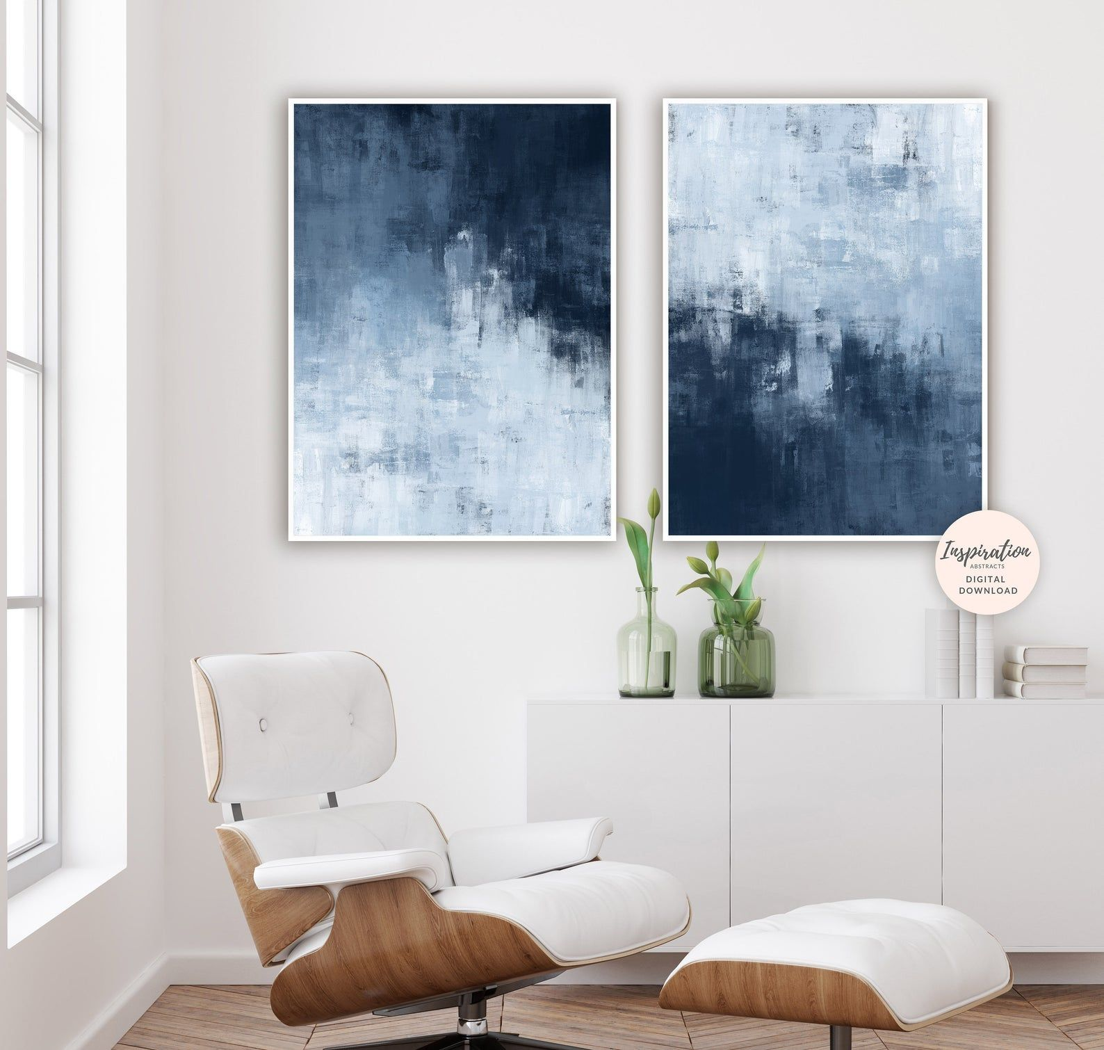 Navy Abstract Art Set Of Two Prints Large Wall Art Etsy In 2021 Living Room Art Wall Art Living Room Artwork For Living Room
