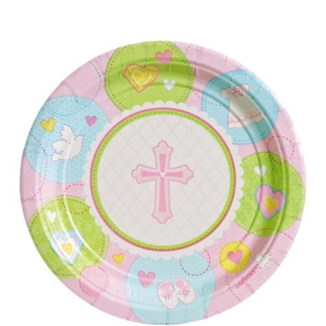 Some sweet tableware for your religious celebration! Pink Sweet Religious Dessert Plates are perfect for a girlu0027s christening or other religious occasion.  sc 1 st  Pinterest & Pink Sweet Religious Dessert Plates - Party City | Baptism ...