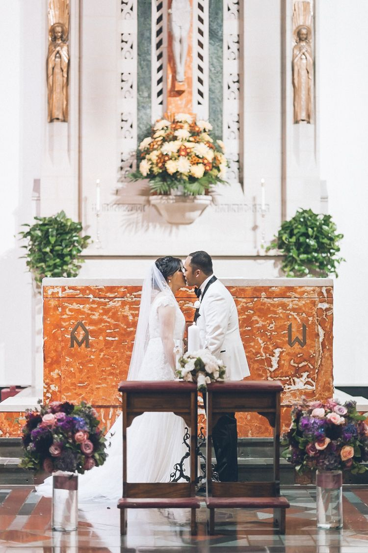 kim Yen and Rainier wedding ceremony at St. Catharines Roman Catholic Church, NJ. Captured by NY NJ Wedding Photographers Pearl Paper Studio.