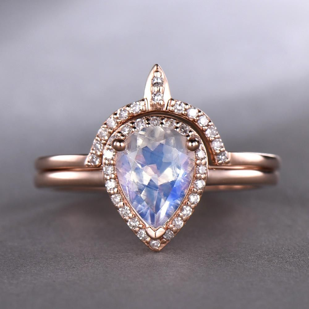 Pear moonstone engagement ring sets pave diamond wedding k rose
