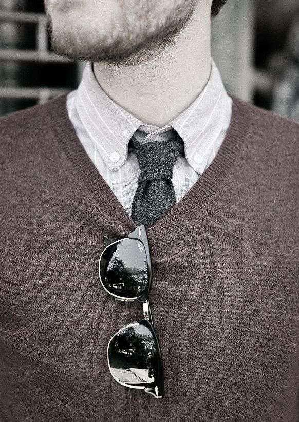 sweater vests on top of a dress shirt and tie. | Mens