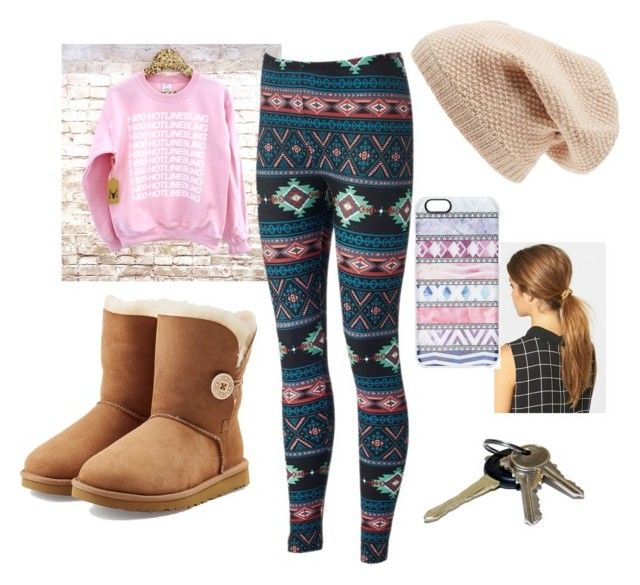 """Leaving after a sleepover with your bestie"" by bamagalhgf on Polyvore featuring Ficcare, UGG Australia, Casetify, Sole Society and Avon"