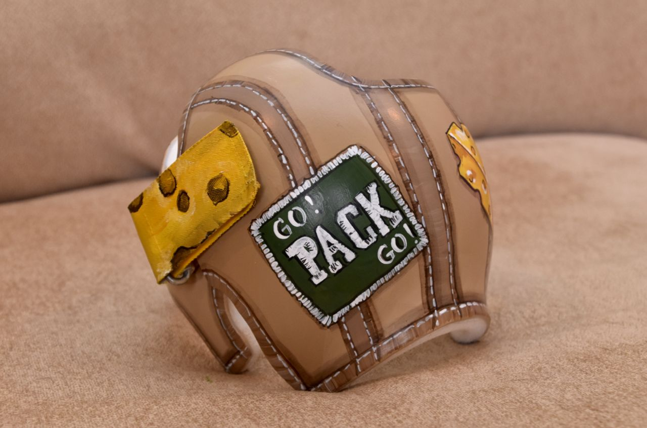 Green Bay Packers Leather Style Design Doc Band Cranial Band Helmet Leather Fashion Band Doc Band