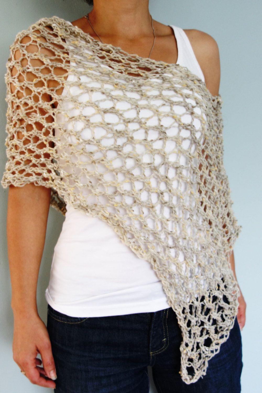 Knitting Pattern - Hampton Lace Poncho/ Chunky Rustic Scarf ...