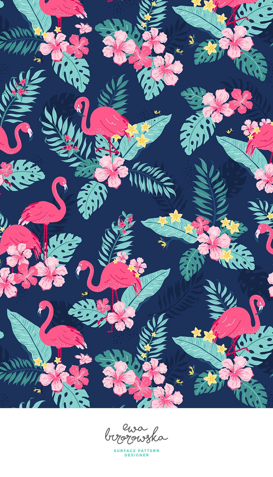 Tropical rush - textile design, pattern design, cute pattern, illustration, children illustration, children bedding, children pattern design, flamingo, tropical, jungle, tropical pattern, floral, flowers, leaves, palm, summer, navy #tropicalpattern